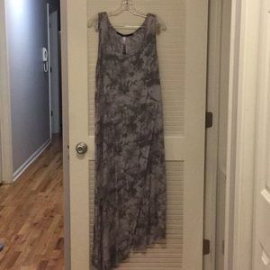 Marble gray maxi dress with slit